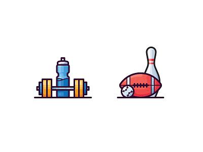 Sport icons dumbbell bowling baseball football bottle vector icon ball sport