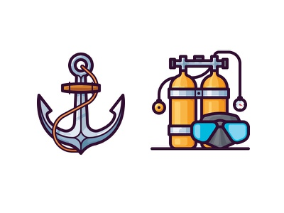 Sea icons air tank icon vector ship anchor scuba mask diving sea