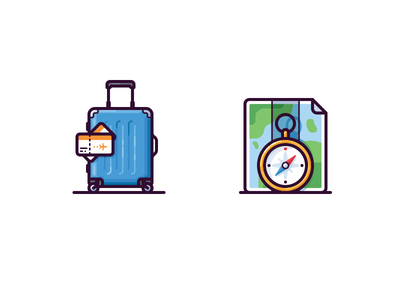Travel icons journey vector ticket bag compass luggage map travel icon