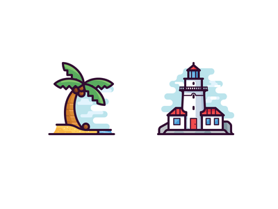 Seaside icons vector icon sea coconut stone building seaside tree beach lighthouse palm