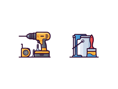 Repair icons repair vector tools measure coloring brush bucket paint drill icon