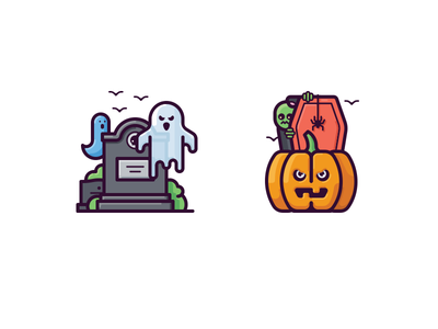 Halloween icons vector coffin zombie scary ghost tomb grave pumpkin halloween icon