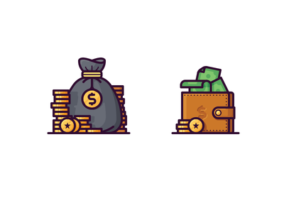 Money icons banknote bank bag wallet coins dollar finance money illustration vector icon