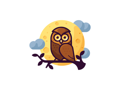 Owl animal predator night bird owl moon illustration vector icon