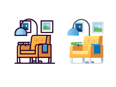 Armchair icon chair picture book furniture light armchair illustration vector icon