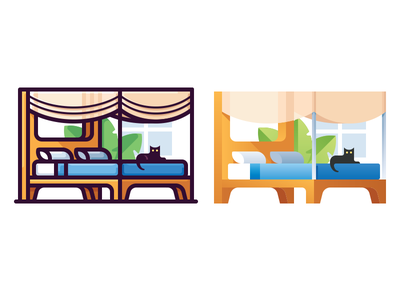 Bedroom plant flat home sleep cat bedroom bed illustration vector icon