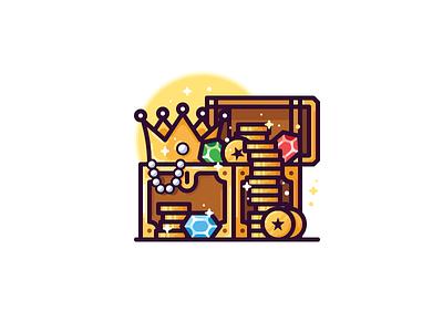 Treasure icon crown chest gem coin gold treasure illustration vector icon