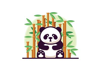 Panda giant nature bamboo bear wild panda animal vector illustration icon