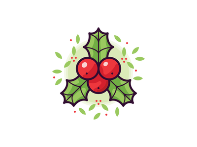 Holly ilex leaf decoration xmas christmas holly berry illustration vector icon