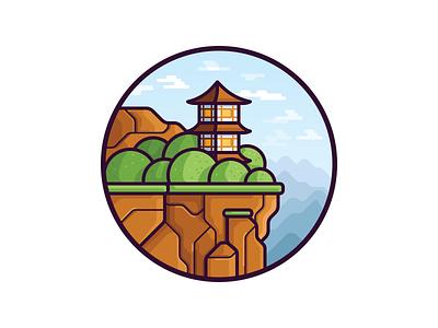 Rock bush tree building temple landscape nature mountain rock illustration vector
