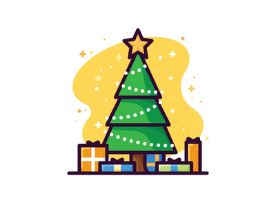Happy New Year! holidadys gifts star tree newyear illustration icon vector