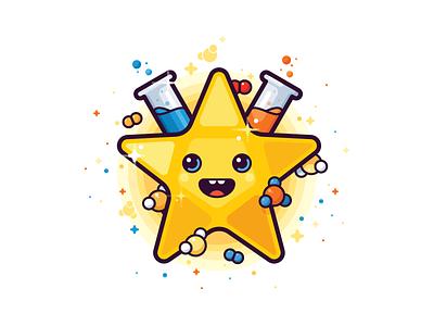 Happy star molecule test tube happy chemistry star science illustration vector icon