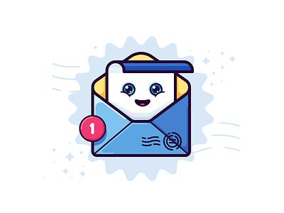 You've got mail new happy letter envelope mail icon illustration vector