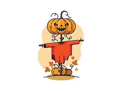Pumkin scarecrow spooky halloween nature autumn simple flat illustration vector pumpkin scarecrow