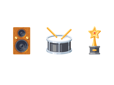 Music icons music speaker award drum sound flat simple vector icon