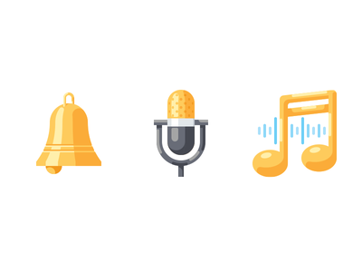 Sound icons bell mic microphone note music simple flat vector icon