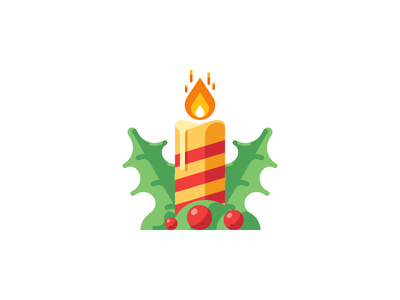 Christmas candle berry xmas christmas decoration holly light flame candle vector icon