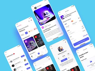Events App Design Concept notification payment maps live chat livestream events event mobile ui mobile app application ux app design design uxdesign uiux uidesign ui