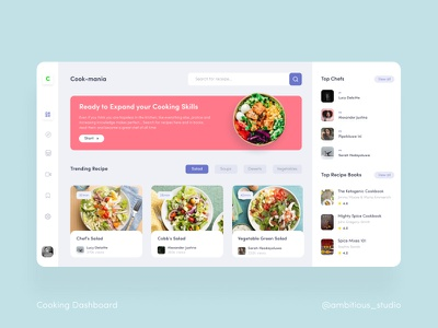 Recipe Dashboard dashboad uxdesign uiux uidesign cooking app recipe app dashboard app dashboard ui website web app ui design ux