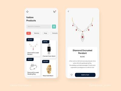 Icebox E-commerce App jewellery ecommerce design ecommerce app ecommerce mobile ui mobile app application app design ui uidesign uxdesign ux uiux