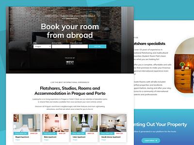Student Room Flat - Booking Platform for international students elementor branding blue co-living booking app booking system wordpress design design minimal wordpress booking platform