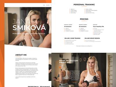 Jana Smiková Personal Trainer coach personal trainer homepage orange landing page elementor design wordpress design minimal wordpress