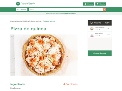 PH Chef Receta Single ecommerce foodie food nutrition recipe green ui minimal design
