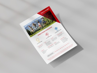 Swiss Camps Flyer print education marketing flyer report design sales tool modern whitepaper corporate business