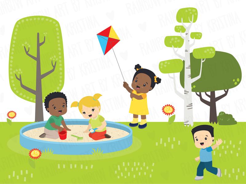 Children at the playground childrens book character flat vector illustration children illustration