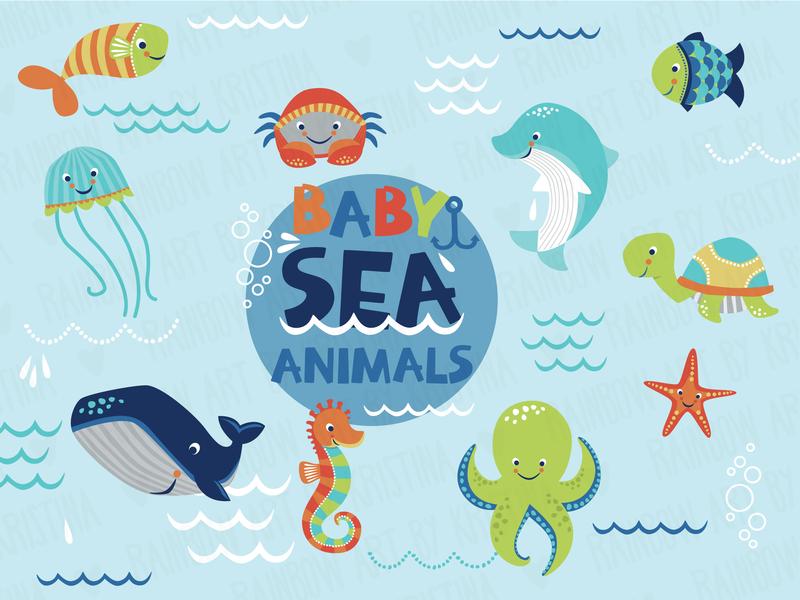 Baby sea animals illustration childrens book flat vector illustration children illustration
