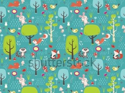 Spring Forest Seamless Pattern design seamless pattern character flat childrens book vector illustration children illustration