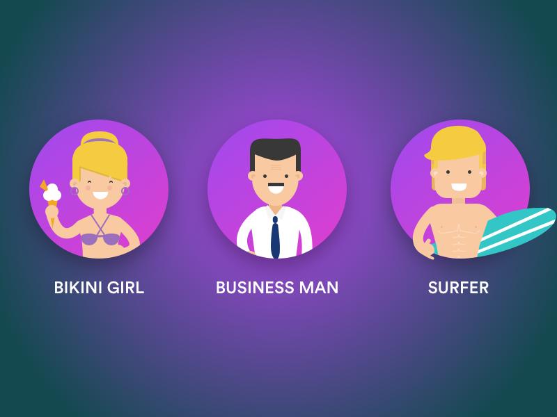 Ux Fun Personas  sketchapp bikini man business surfer caracters