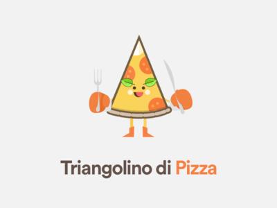 Triangolino di Pizza minimal italian illustration stickermule triangolino triangolo triangulate pizza sketchapp caracter