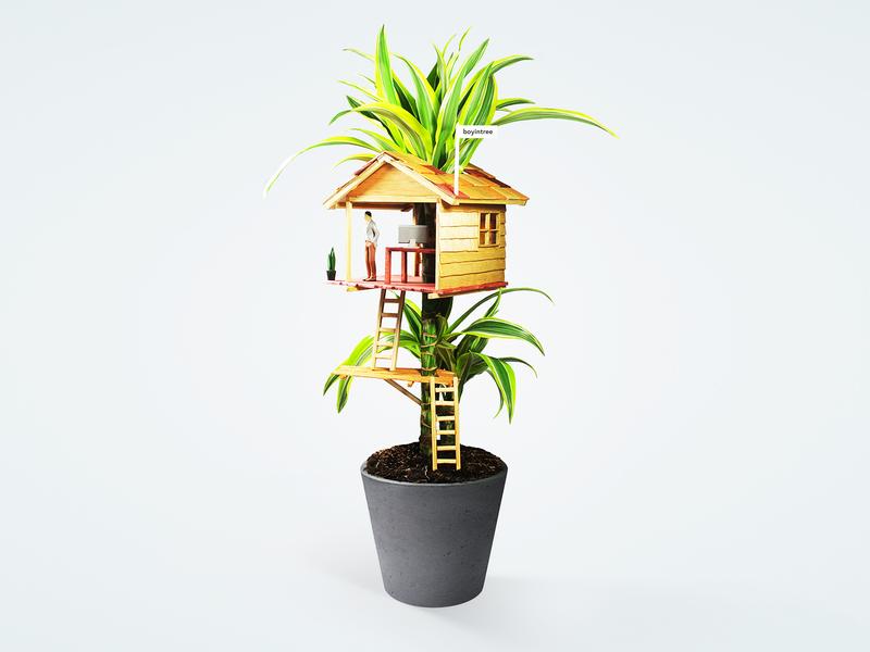 Boyintree - Treehouse diorama art photoshop photography handmade model building web design branding