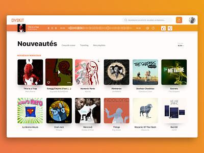 Dyskit Music Player 2017 ui vote album cover shadow artists cards blur desktop webapp player music