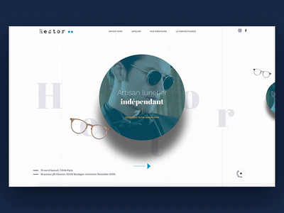 Hector - Optical website 2018 optician drag drop typo drag optical glasses animation homepage