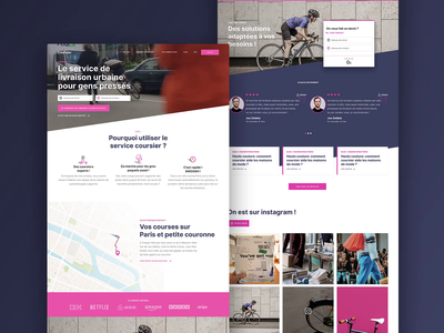 Couriers by bicycle - Homepage brand start up ui figma principle animation pink video background hero video desktop homepage service courier
