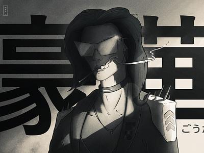 IPADTOBER 2020 // 7 // Fancy vape femalelead streetstyle mwstandsfor manga anime sketch procreate photoshop kanji japanese ipadtober ipad inktober2020 inktober illustration