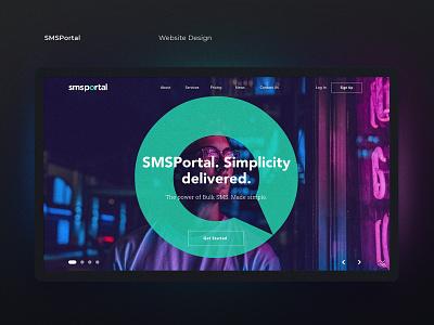 SMS Portal Website webdesigner ui designer neon website design webdesign website ui