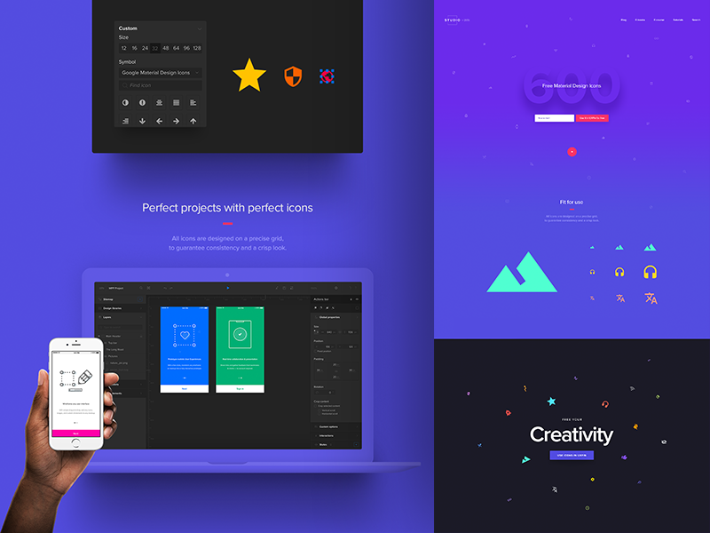 Material Design Icons LP icons material material design typography minimalistic minimal design ui ux landing page webdesign web