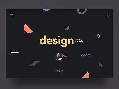 Michael Korwin - Designer Portfolio shapes portfolio personal typography minimalistic minimal design ui ux landing page webdesign web