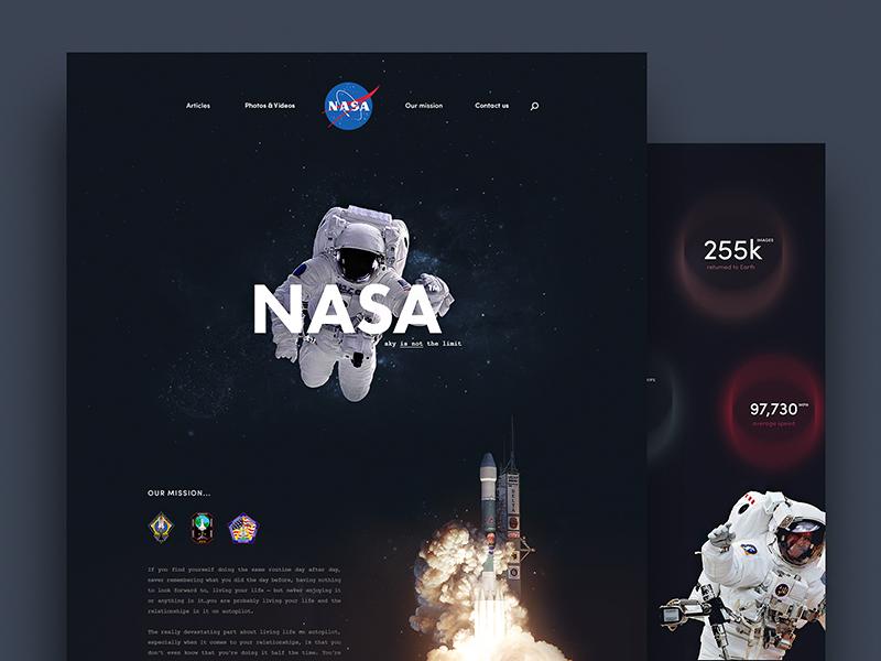 NASA 🚀 redesign nasa astronaut galaxy cosmo cosmos space webdesign web
