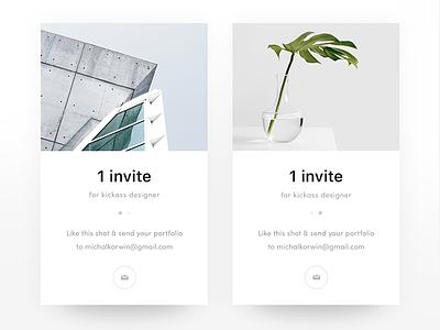 Dribbble Invites x2 freebie giveaway invite invitation app mobile cards designer shapes portfolio webdesign web