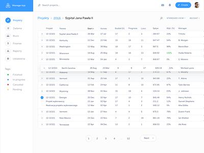 Manage app ☕️ manage table dashboard interface ux ui webdesign web