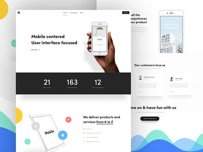 Software house homepage 📱 ux ui landing page shapes shape mobile agency homepage webdesign web