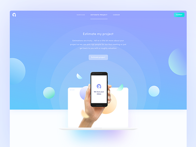Estimate my project 💸 web webdesign homepage agency mobile shape shapes landing page ui ux