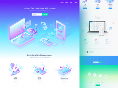 Gradients & illustartions LP ux ui landing page shapes shape mobile agency homepage webdesign web
