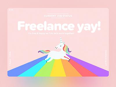 Freelance Yay! 🦄 web webdesign landing page ux ui design minimal minimalistic typography personal portfolio shapes