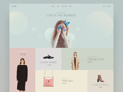 Catch the moment 🦋 shapes portfolio personal typography minimalistic minimal design ui ux landing page webdesign web