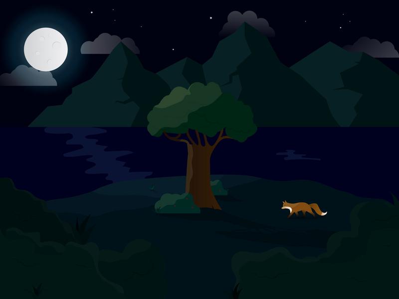 Evening Landscape lake mountains landscape night gradient nature tree fox illustraion moonlight